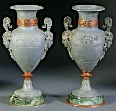 Pair French Art Nouveau Neoclassical Style White Metal Copper Marble Urns 20th C