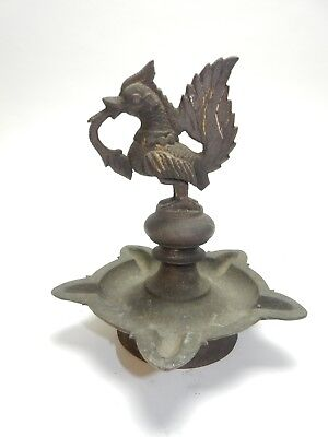 Antique Traditional Indian Ritual Bronze/Brass Hamsa BIRD Oil Lamp