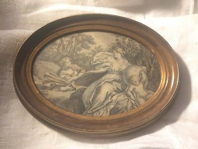 "Vintage Print Black and White Greek Roman Gold Wood Oval Frame  8.25"" x 6.25"""
