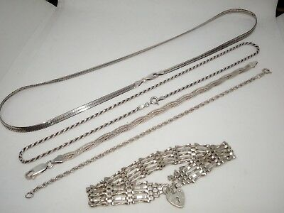 Mixed Lot x 5 Vintage 925 Sterling Silver Bracelets / Necklaces 32g - Free P&P
