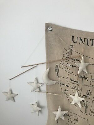 Restoration Hardware Wool Stars Moon Baby Mobile Nursery Cream Ivory
