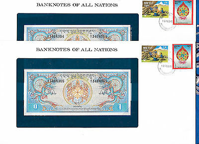 Banknotes of All Nations Bhutan 1981 1 Ngultrum P5 UNC Prefix A/1 2 Consecutive