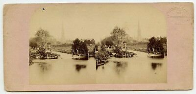 Salisbury Cathedral  Vintage Stereoview Photo by London Stereoscopic Company.