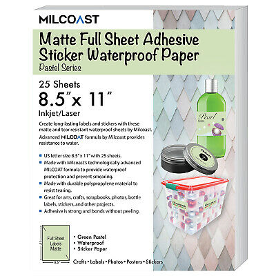 MILCOAST GLOSSY FULL Sheet Clear Translucent Sticker Paper