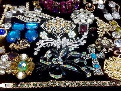 Large Lot Of Vintage~Retro Rhinestone/crystal.. Jewelry For Repair, Parts (E272)