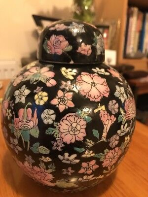 Chinese Famille Noir Porcelain Ginger Jar Measuring 8 Inches. Damaged Lid
