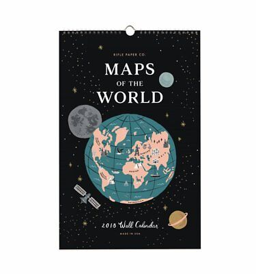 "Rifle Paper Co Anna Bond 2018 Maps of the World Calendar Wall Prints 17"" X 11"""