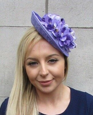 Lilac Light Purple Orchid Flower Saucer Disc Hat Fascinator Races Wedding 5531