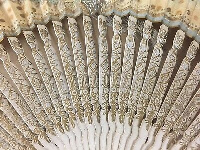 Antique Hand Fan Paper And Wood Hand Painted Tasseled Gilded