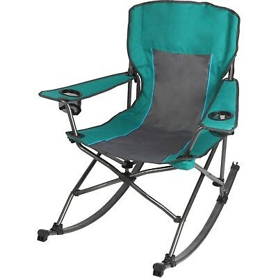 Ozark Trail Outdoor Rocking Chair Green W Dual Mesh Cup Holders Travel Bag