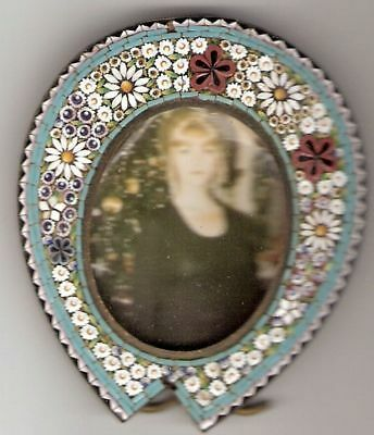 Vintage Antique Italian Micro Mosaic Miniature Picture Frame Easel Back