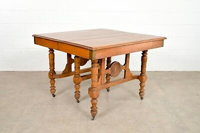 Antique Eastlake Table Victorian Solid Oak Extending Dining Table Late 1800s