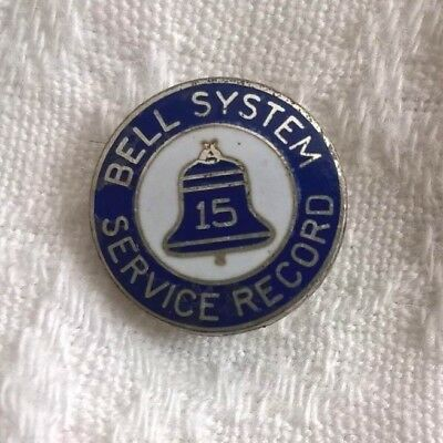 Vintage Bell Telephone Service  Anniversary S S  Lever Back Enamel Pin 15 yr
