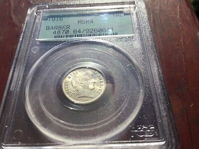 1916 Barber Dime PCGS MS 64 Green Label