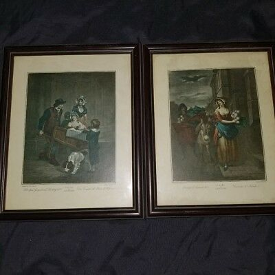 "Framed Antique Vintage Framed Art Pair of ""Cries of London"" Prints Very Old"