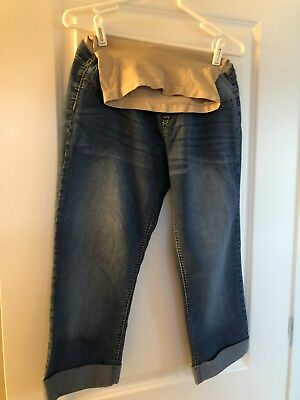 Fade To Blue Maternity Denim Jeans Capris Cropped Large EUC From Motherhood