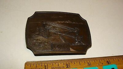 P&H Pawling & Harnischfeger Mining Equipment Excavator Crane Brass Belt Buckle