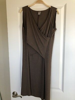 Japanese Weekend Crossover Wrap Dress Large Worn 1-2 Times EEUC! Brown CUTE!