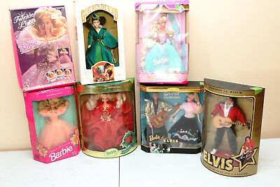 Mixed Lot of 7 Dolls Mattel Barbies, Elvis, Gone with the wind in original boxes