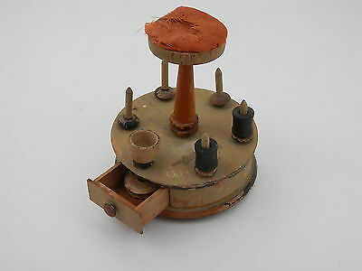 Vintage 1920's Painted Wood Pincushion Spool Holder w/Drawer