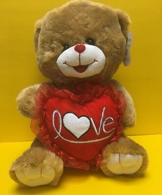 "14""BROWN ADORABLE TEDDY Bear With Red Heart-NEW Oso de Peluche ..."
