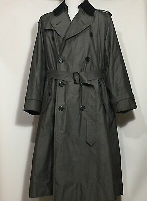 BURBERRYS Sharkskin Trenchcoat B87C 80s Fully Lined Wool + Cotton Mens 50 Long