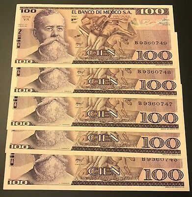 Mexico Banknote 100 Pesos AU Paper Money Consecutive S/N Mexican bills Lot of 5