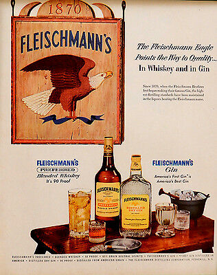 Vintage 1954 Fleischmanns preferred Whiskey Gin advertisement print ad