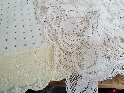 Antique VTG Table Runner Yellow Tambour Embroidered Fabric Filet Mosaic Lace Lot