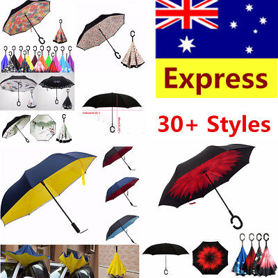 Windproof Double Layer Umbrella Upside Down Inverted Reverse C-Handle Inside-Out