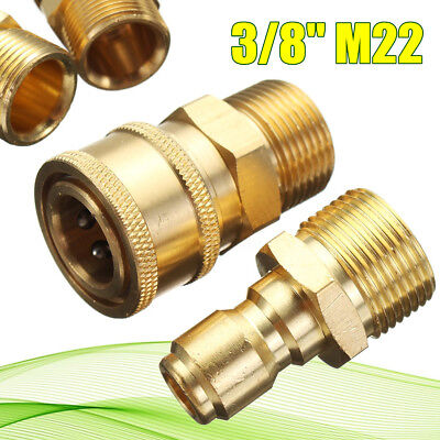 "Pressure Washer Quick Release 14.8mm 3/8"" Male To M22 Male Fitting Coupling Set"