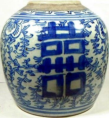 "Antique Porcelain Blue + White ""Ming Style"" Pot LARGE 19thC China Hand Painted"