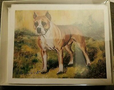 Ruth Maystead Dog Note Cards Pitbull Am Staff American Staffordshire Terrier