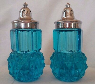 Vintage AQUA BLUE Glass Salt & Pepper Shakers