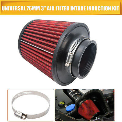 "Performance High Flow Cone Air Filter (76mm) 3"" Inch Neck Diameter RED/CHROME"