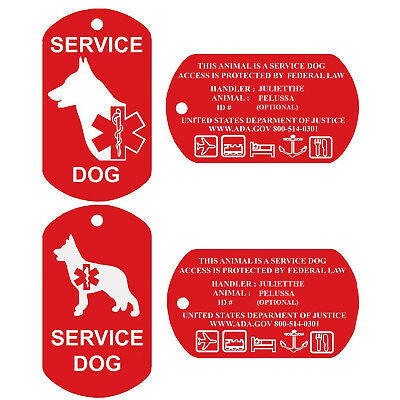 Service Dog Tags Personalized Engraved Dog Id Tag Set of 2 USA PetProTags