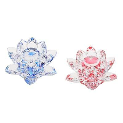 2pcs Bling Crystal Lotus Flower Model Glass Craft Tabletop Decor Red & Blue