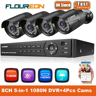 """7"""" Screen 4CH 1080N 5IN1 DVR 4x 1080P 2.0MP CCTV Outdoor Security Camera Systems"""