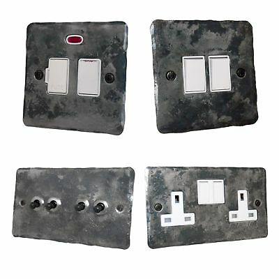 Rustic Silver Flat Plate FRW Plug Sockets, Light Switches, Dimmers, Cooker, Fuse