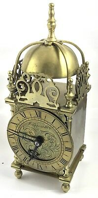 Large Antique Style Brass Lantern Clock FRENCH Movement : MAPPIN & WEBB