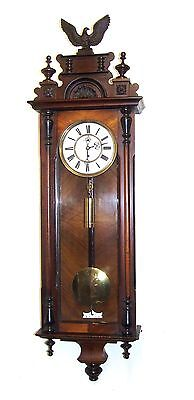 Antique Single Weighted Walnut Vienna Clock with Second Dial