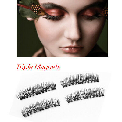 4Pcs Magnetic Eyelashes 3D Triple Handmade Reusable False No-glue Eye Lashes New