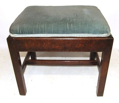 Antique 18th Century GEORGE III Mahogany Stretcher Stool Footstool Upholstered