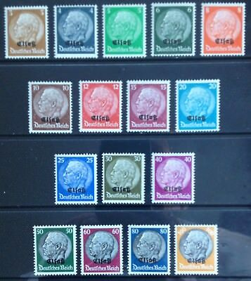 Germany: Occupied Alsace 1940 O/P on Hindenburg issues MNH