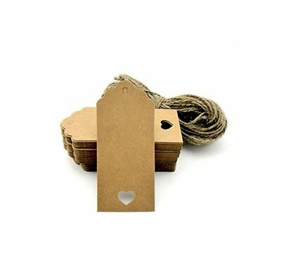 100pcs Gift Tags/Kraft Hang Tags with Free Cut Strings for Gifts Crafts