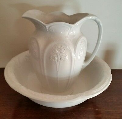 Antique Victorian Art Nouveau Jug And Wash Bowl Basin Alfred Meakin white