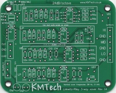 LR mono 3-way active filter by KMTech v1.4 PCB DIY BALANCED/UNBALANCED INPUT