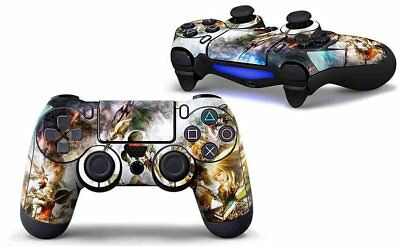 Pair of Vinyl Controller Skins - Battle Fight Over Land/Sky for PlayStation 4