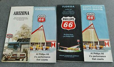 4 VINTAGE  60s 70s ROAD MAPS ARIZONA,  FLORIDA ,WASHINGTON  ,DAKOTAS