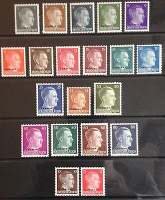 Germany: Occupied Ukraine O/Ps on 1941 Hitler issues MNH